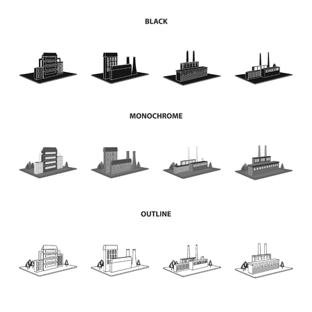 Processing factory,metallurgical plant. Factory and industry set collection icons in black,monochrome,outline style isometric vector symbol stock illustration web.
