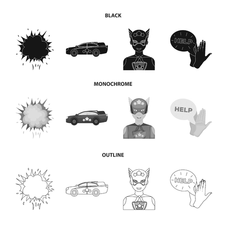 Explosion, fire, smoke and other web icon in black,monochrome,outline style. superforce, cry, icons in set collection. Ilustração