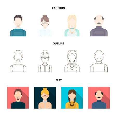 A man with a beard, a businesswoman, a pigtail girl, a bald man with a mustache.Avatar set collection icons in cartoon,outline,flat style vector symbol stock illustration web.