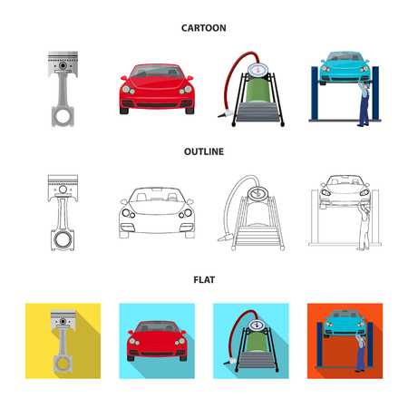 Car on lift, piston and pump cartoon,outline,flat icons in set collection for design.Car maintenance station vector symbol stock illustration web.