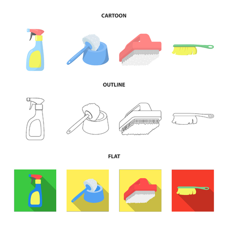 Cleaning and maid cartoon,outline,flat icons in set collection for design. Equipment for cleaning vector symbol stock web illustration.