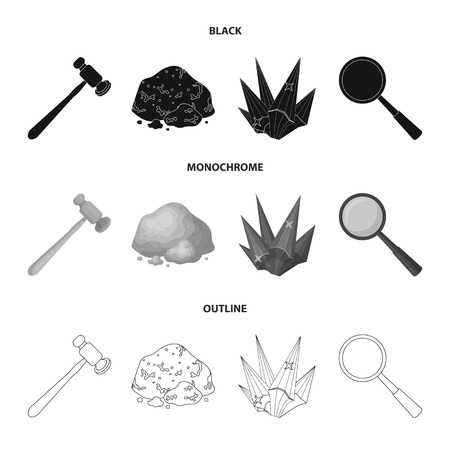 A jewelers hammer, a magnifier, a copper ore, a crystal. Precious minerals and a jeweler set collection icons in black,monochrome,outline style vector symbol stock illustration web.