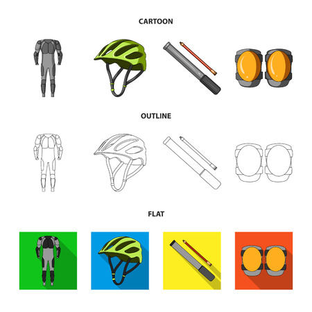 Full-body suit for the rider, helmet, pump with a hose, knee protectors.Cyclist outfit set collection icons in cartoon,outline,flat style vector symbol stock illustration web.