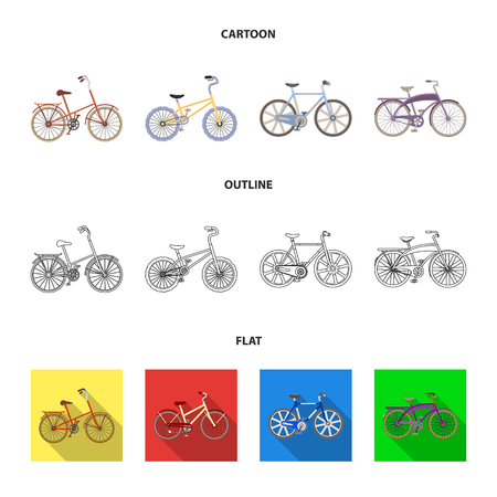 Childrens bicycle and other kinds.Different bicycles set collection icons in cartoon,outline,flat style vector symbol stock illustration web.