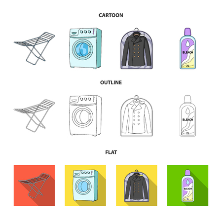 Dryer, washing machine, clean clothes, bleach. Dry cleaning set collection icons in cartoon,outline,flat style vector symbol stock illustration web.