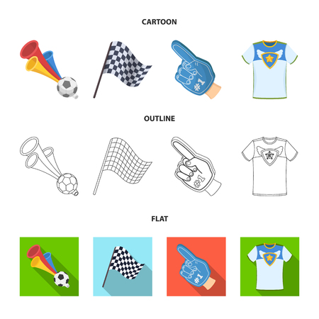 Pipe, uniform and other attributes of the fans.Fans set collection icons in cartoon,outline,flat style vector symbol stock illustration web.