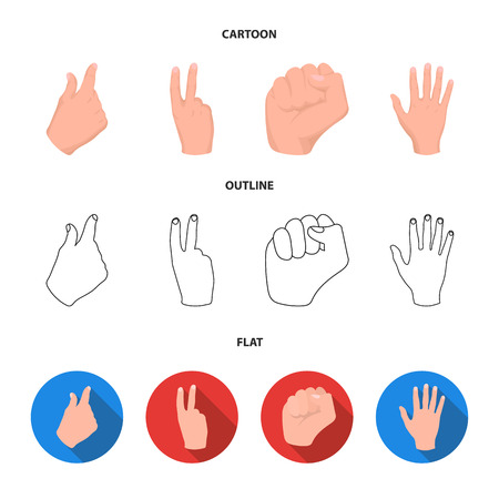Open fist, victory, miser. Hand gesture set collection icons in cartoon,outline,flat style vector symbol stock illustration web.