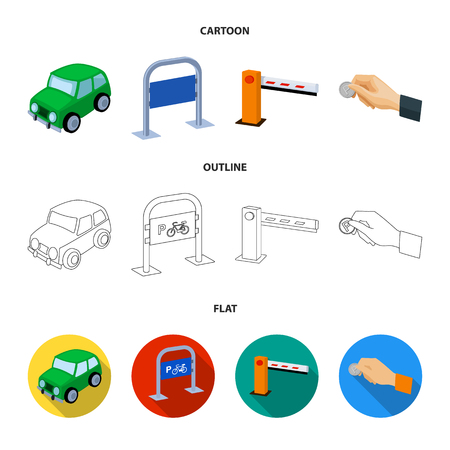 Car, parking barrier, bicycle parking place, coin in hand for payment. Parking zone set collection icons in cartoon,outline,flat style vector symbol stock illustration web.