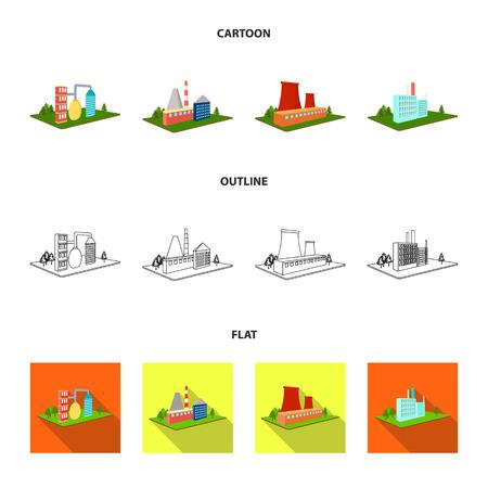 Verwerkingsfabriek, metallurgische fabriek. Fabriek en industrie instellen collectie iconen in cartoon, overzicht, vlakke stijl isometrische vector symbool stock illustratie web.