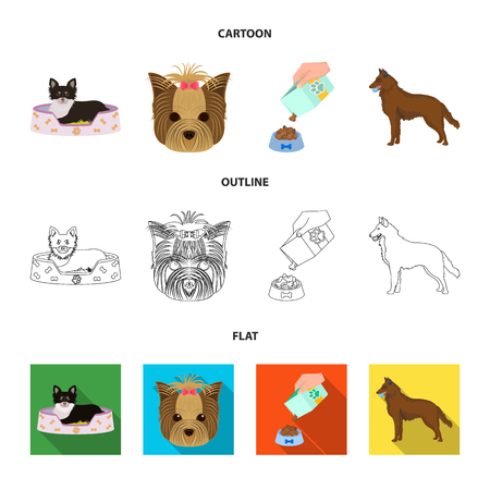 A dog in a lounger , a muzzle of a pet, a bowl with a feed, a sheepdog with a ball in his teeth. Pet ,dog care set collection icons in cartoon,outline,flat style vector symbol stock illustration web. Illustration