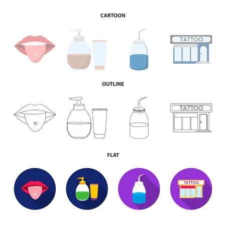 Piercing dans la langue, gel, sallon. Tatouage mis icônes de la collection en dessin animé, contour, style plat vecteur symbole stock illustration web.