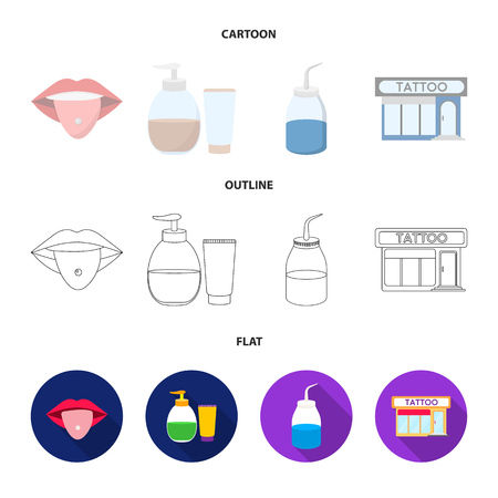 Piercing in tongue, gel, sallon. Tattoo set collection icons in cartoon,outline,flat style vector symbol stock illustration web.