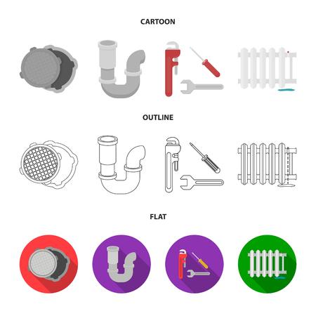 Sewage hatch, tool, radiator.Plumbing set collection icons in cartoon,outline,flat style vector symbol stock illustration web. Illustration