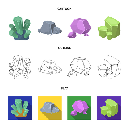 Crystals, iron ore. Precious minerals and a jeweler set collection icons in cartoon,outline,flat style vector symbol stock illustration web.