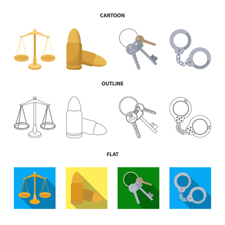 Scales of justice, cartridges, a bunch of keys, handcuffs.Prison set collection icons in cartoon,outline,flat style vector symbol stock illustration web.