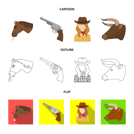 Head of a horse, a bulls head, a revolver, a cowboy girl. Rodeo set collection icons in cartoon,outline,flat style vector symbol stock illustration web.