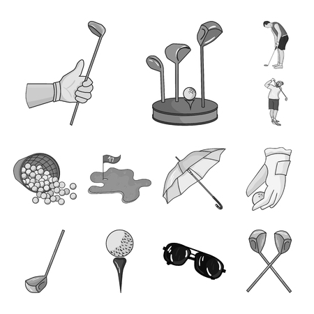 Golf and attributes monochrome icons in set collection for design.Golf Club and equipment vector symbol stock web illustration.