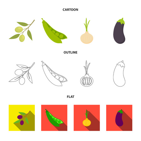 Olives on a branch, peas, onions, eggplant. Vegetables set collection icons in cartoon,outline,flat style vector symbol stock illustration web. Stock Photo