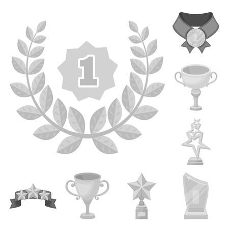 Awards and trophies monochrome icons in set collection for design.Reward and achievement vector symbol stock web illustration.  イラスト・ベクター素材