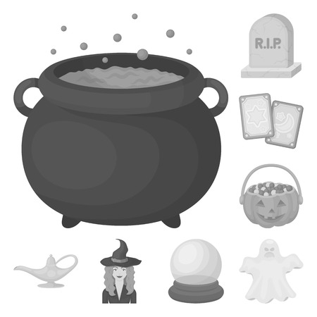 Schwarzweiss-magische monochrome Ikonen in der Satzsammlung für Design. Attribute und Zauberin Zubehör Vektor Symbol Lager Web-Illustration.