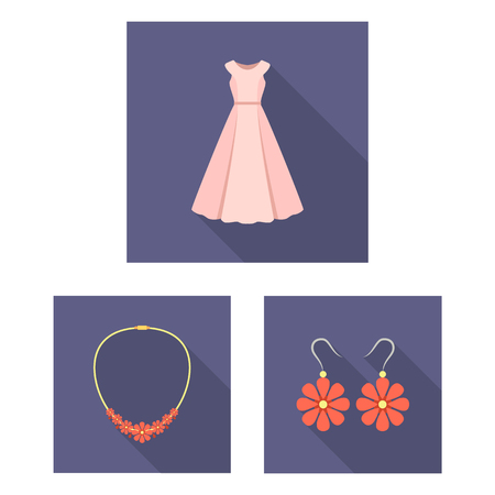 9e852334b4c Clothes and accessories flat icons in set collection for design. Shoes and  decoration vector symbol