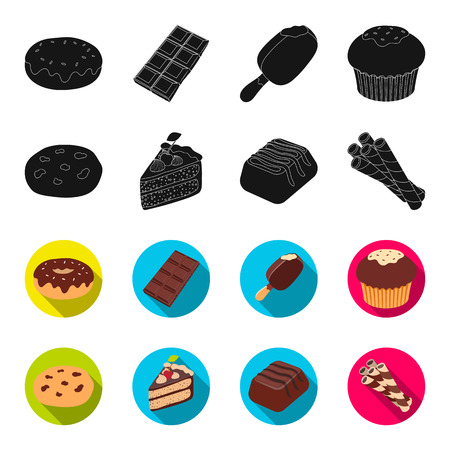 American cookies, a piece of cake, candy, wafer tubule. Chocolate desserts set collection icons in black,flet style vector symbol stock illustration web.