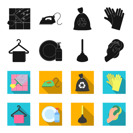Cleaning and maid black,flet icons in set collection for design. Equipment for cleaning vector symbol stock web illustration.