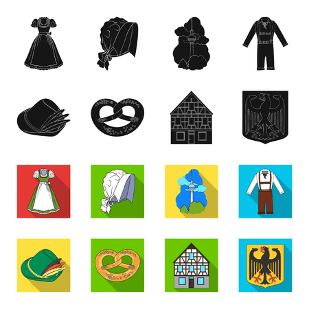 Country Germany black,flet icons in set collection for design. Germany and landmark vector symbol stock web illustration.