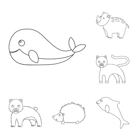 An unrealistic animal outline icons in set collection for design. Toy animals vector symbol stock web illustration. Çizim