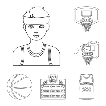 Basketball and attributes outline icons in set collection for design.Basketball player and equipment vector symbol stock web illustration.