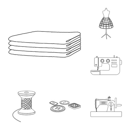 Atelier and equipment outline icons in set collection for design. Sewing of outer clothing vector symbol stock web illustration. Иллюстрация
