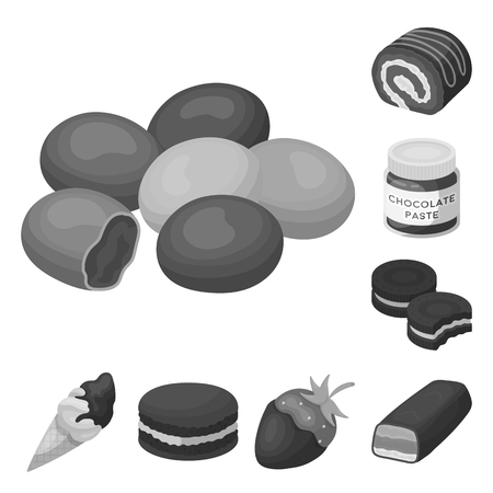 Chocolate Dessert monochrome icons in set collection for design. Chocolate and Sweets vector symbol stock web illustration.