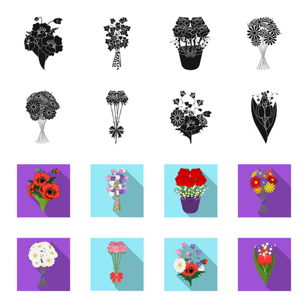 A bouquet of fresh flowers black,flet icons in set collection for design. Various bouquets vector symbol stock web illustration. Vettoriali