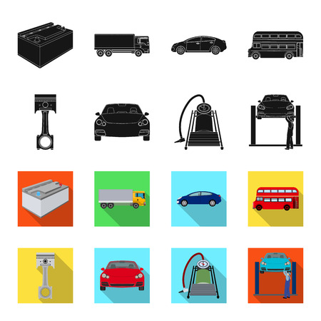 Car on lift, piston and pump black,flet icons in set collection for design.Car maintenance station vector symbol stock illustration web. Vectores