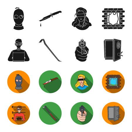 Photo of criminal, scrap, open safe, directional gun.Crime set collection icons in black,flet style vector symbol stock illustration web.