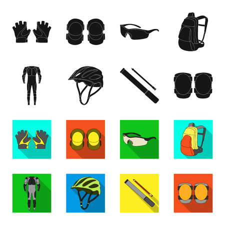 Full-body suit for the rider, helmet, pump with a hose, knee protectors.Cyclist outfit set collection icons in black,flet style vector symbol stock illustration web.