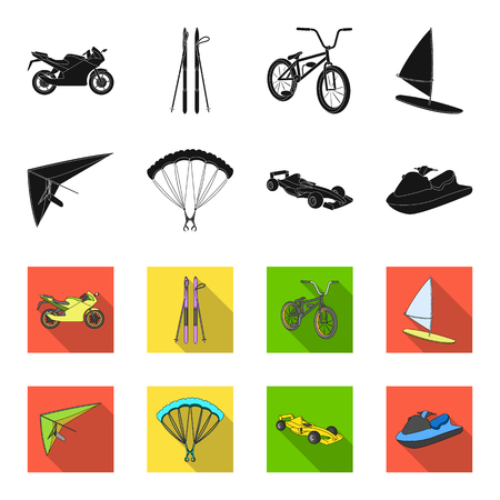 Hang glider, parachute, racing car, water scooter.Extreme sport set collection icons in black,flet style vector symbol stock illustration web.