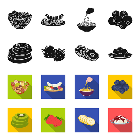 Fruits and other food. Food set collection icons in black,flet style vector symbol stock illustration web.
