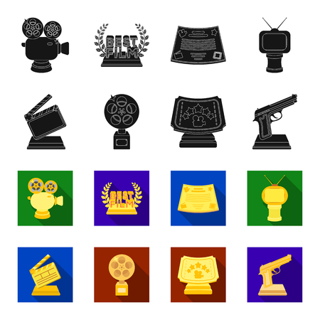 Gold pistol, silver prize for the best supporting role and other prizes.Movie awards set collection icons in black,flet style vector symbol stock illustration web. Stock Illustratie