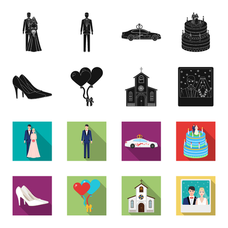 Wedding and Attributes black,flet icons in set collection for design.Newlyweds and Accessories vector symbol stock web illustration.