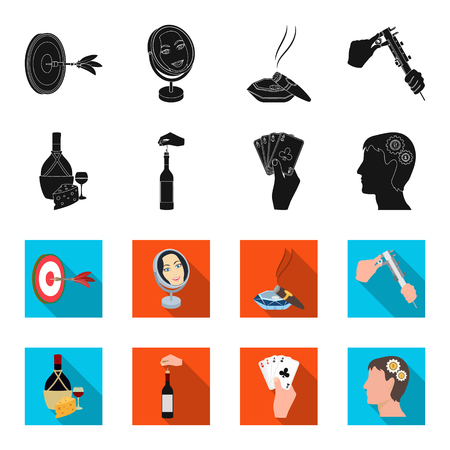 Bottle, a glass of wine and cheese, clogging with a corkscrew and other web icon in black,flet style. A combination of cards in hand, a persons head and an idea generator icons in set collection. Illustration