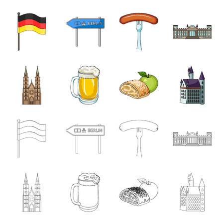 Country Germany cartoon,outline icons in set collection for design. Germany and landmark vector symbol stock web illustration. Illustration