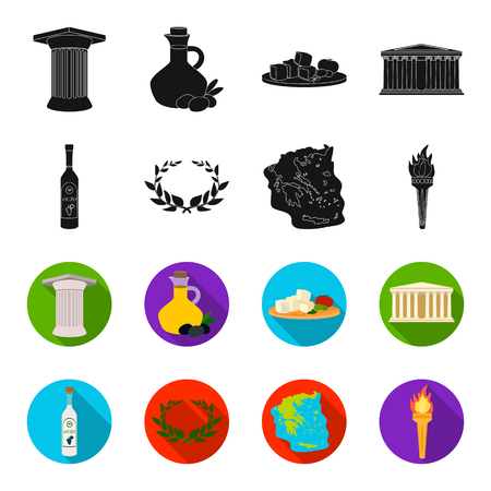 Greece, country, tradition, landmark .Greece set collection icons in black,flet style vector symbol stock illustration web.