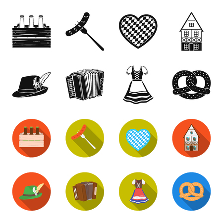 Tyrolean hat, accordion, dress, pretzel. Oktoberfest set collection icons in black,flet style vector symbol stock illustration web.