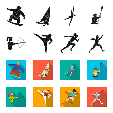 Archery, karate, running, fencing. sport set collection icons in black,flet style vector symbol stock illustration web. Illustration