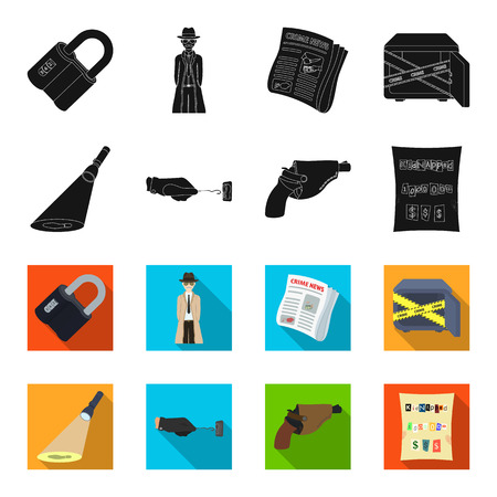 The detectives flashlight illuminates the footprint, the criminals hand with the master key, a pistol in the holster, the kidnappers claim. Crime and detective set collection icons in black,flet style vector symbol stock illustration web.