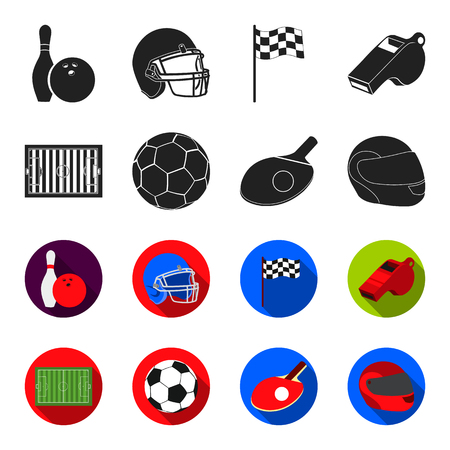 Field, stadium with markings for playing football, football ball, racket with a ball for table tennis, protective helmet for the game,glove for baseball or rugby. Sport set collection icons in black,flet style vector symbol stock illustration web. Çizim