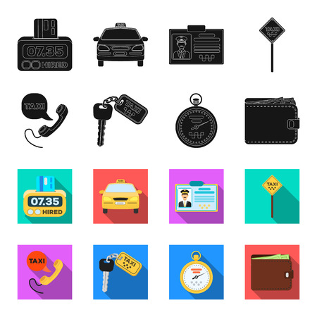 Handset with the inscription of a taxi, car keys with a key fob, a stopwatch with a fare, a purse with money, dollars. Taxi set collection icons in black,flet style vector symbol stock illustration web.