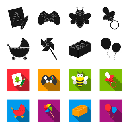 Stroller, windmill, lego, balloons.Toys set collection icons in black,flet style vector symbol stock illustration web. Vectores