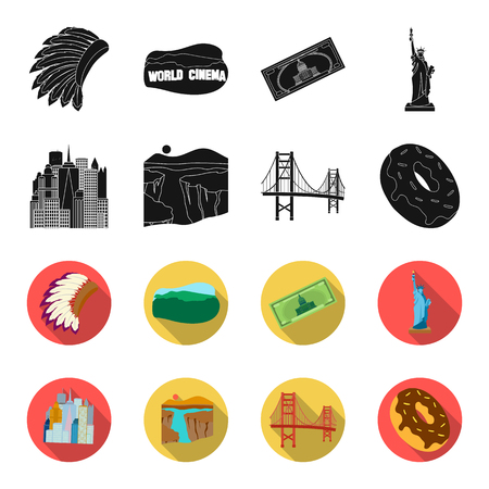 A megacity, a grand canyon, a golden gate bridge,donut with chocolate. The US country set collection icons in black,flet style vector symbol stock illustration web.